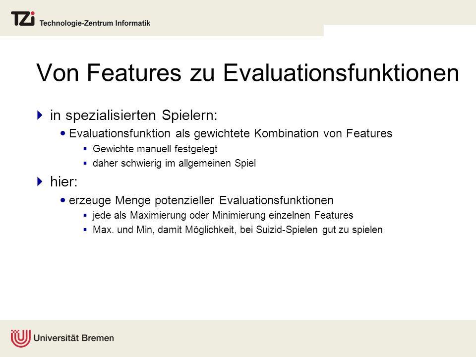 Von Features zu Evaluationsfunktionen in spezialisierten Spielern: Evaluationsfunktion als gewichtete Kombination von Features Gewichte manuell festge