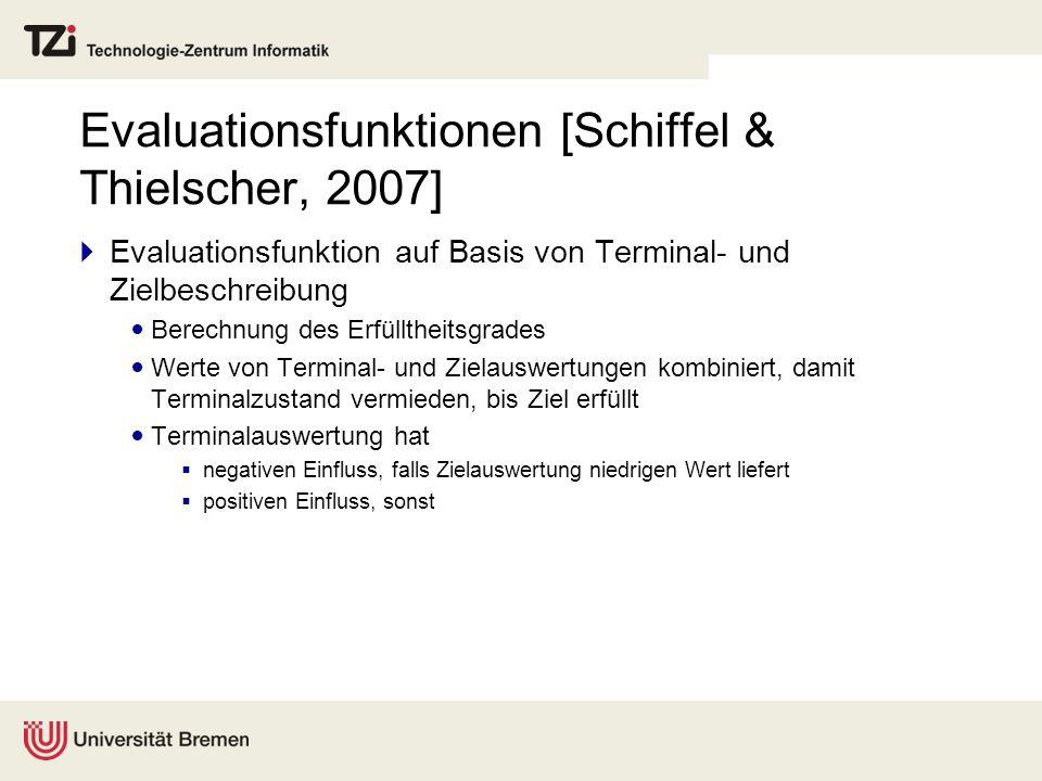 Evaluationsfunktionen [Schiffel & Thielscher, 2007] Evaluationsfunktion auf Basis von Terminal- und Zielbeschreibung Berechnung des Erfülltheitsgrades