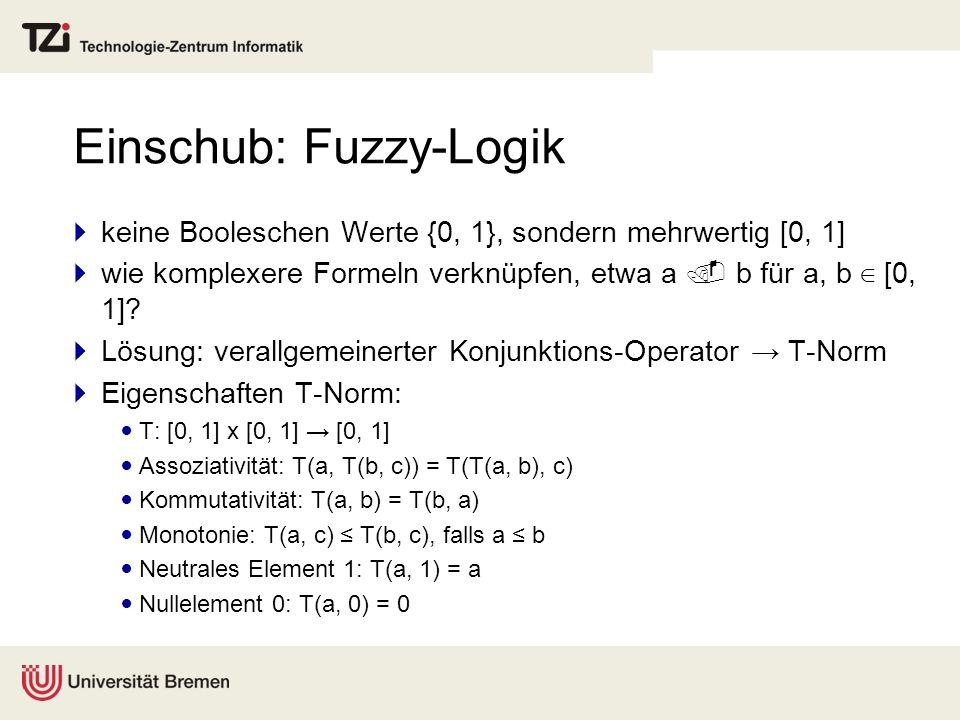 Einschub: Fuzzy-Logik keine Booleschen Werte {0, 1}, sondern mehrwertig [0, 1] wie komplexere Formeln verknüpfen, etwa a b für a, b [0, 1]? Lösung: ve