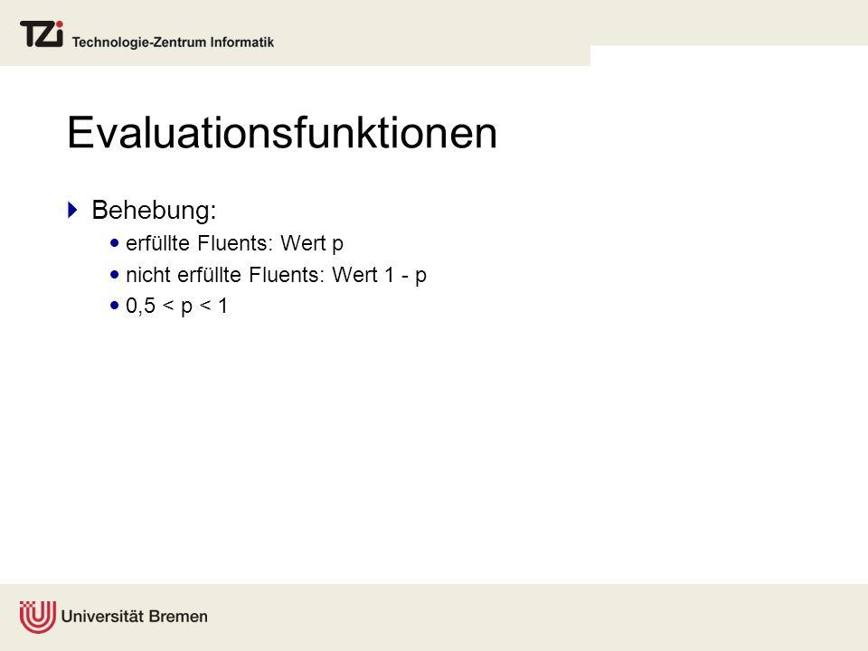 Evaluationsfunktionen Behebung: erfüllte Fluents: Wert p nicht erfüllte Fluents: Wert 1 - p 0,5 < p < 1