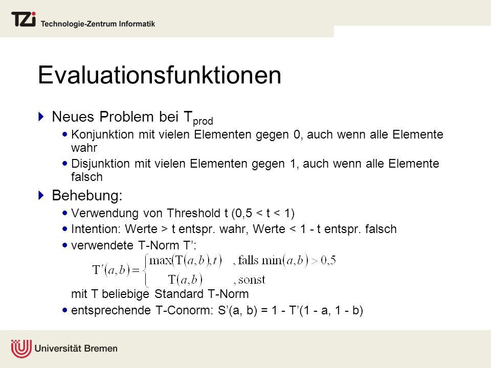 Evaluationsfunktionen Neues Problem bei T prod Konjunktion mit vielen Elementen gegen 0, auch wenn alle Elemente wahr Disjunktion mit vielen Elementen