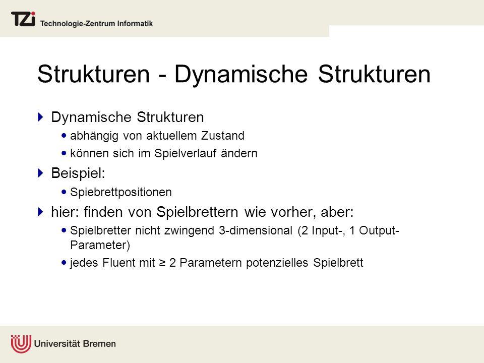 Strukturen - Dynamische Strukturen Dynamische Strukturen abhängig von aktuellem Zustand können sich im Spielverlauf ändern Beispiel: Spiebrettposition