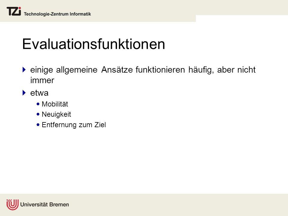 Beispiel: Suizid-Reversi (nOthello) Aktueller Zustand: #Marker(grün): 8 V(s) = #Marker(grün) / 64 = 0,125 E(s) = 1 + 98 * (1 - V(s)) = 86,75 Fall 1: #Marker(grün): 12 V(s) = #Marker(grün) / 64 = 0,1875 E(s) = 1 + 98 * (1 - V(s)) = 80,625 1 Fall 2: #Marker(grün): 10 V(s) = #Marker(grün) / 64 = 0,15625 E(s) = 1 + 98 * (1 - V(s)) = 83,6875 Fall 3: #Marker(grün): 14 V(s) = #Marker(grün) / 64 = 0,21875 E(s) = 1 + 98 * (1 - V(s)) = 77,5625 22 3