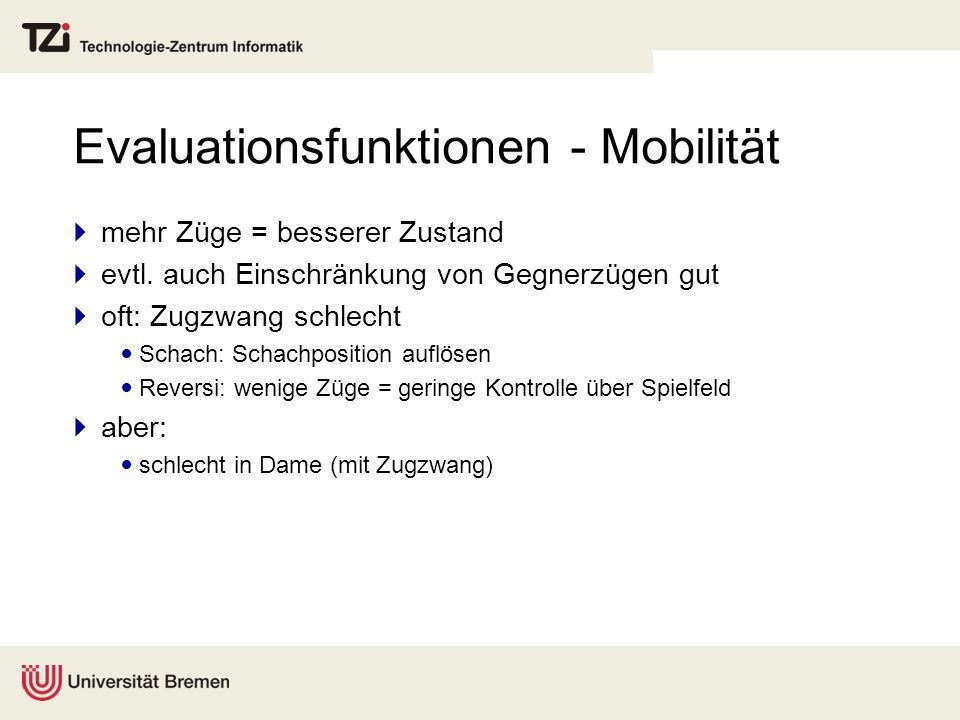 Evaluationsfunktionen - Mobilität mehr Züge = besserer Zustand evtl. auch Einschränkung von Gegnerzügen gut oft: Zugzwang schlecht Schach: Schachposit