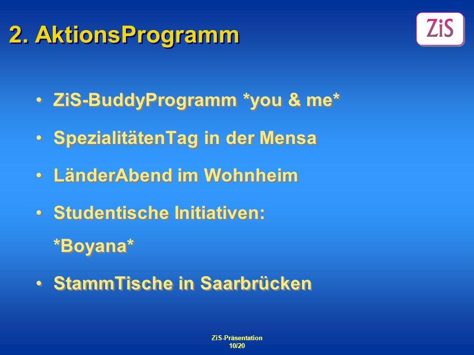 ZiS-Präsentation 10/20 2. AktionsProgramm ZiS-BuddyProgramm *you & me* SpezialitätenTag in der Mensa LänderAbend im Wohnheim Studentische Initiativen: