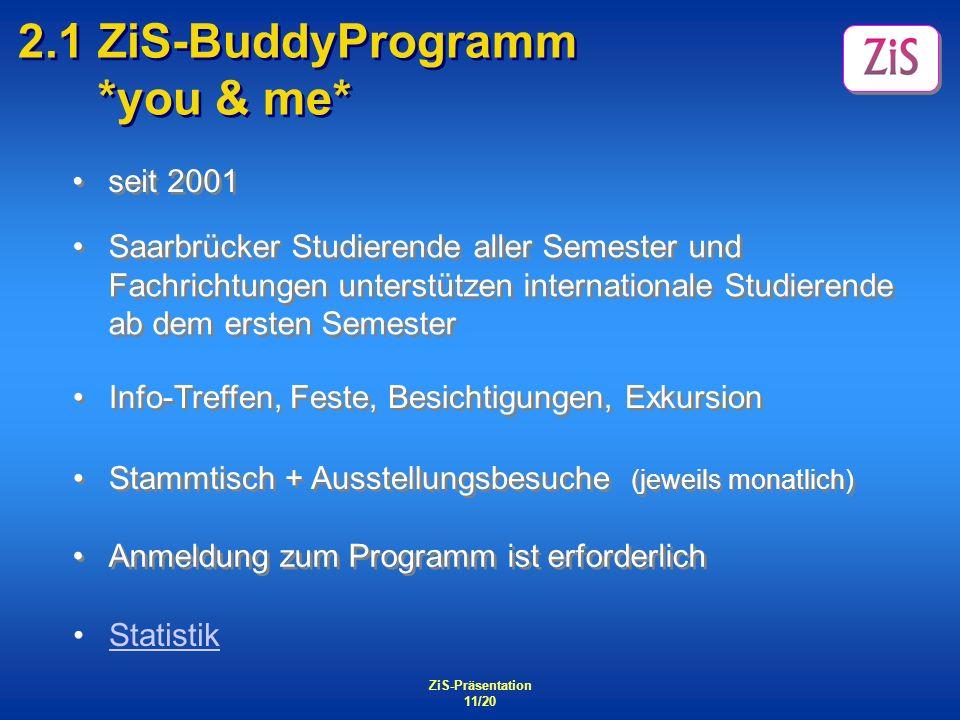 ZiS-Präsentation 11/20 2.1 ZiS-BuddyProgramm *you & me* seit 2001 Anmeldung zum Programm ist erforderlich Stammtisch + Ausstellungsbesuche (jeweils mo