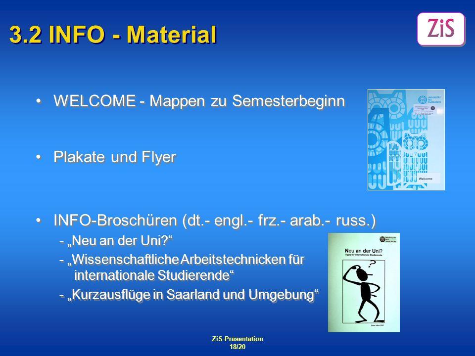 ZiS-Präsentation 18/20 3.2 INFO - Material WELCOME - Mappen zu Semesterbeginn Plakate und Flyer INFO-Broschüren (dt.- engl.- frz.- arab.- russ.) - Neu