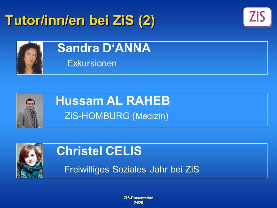 ZiS-Präsentation 24/20 Tutor/inn/en bei ZiS (2) Sandra DANNA Exkursionen ZiS - Homburg Christel CELIS Freiwilliges Soziales Jahr bei ZiS Hussam AL RAH