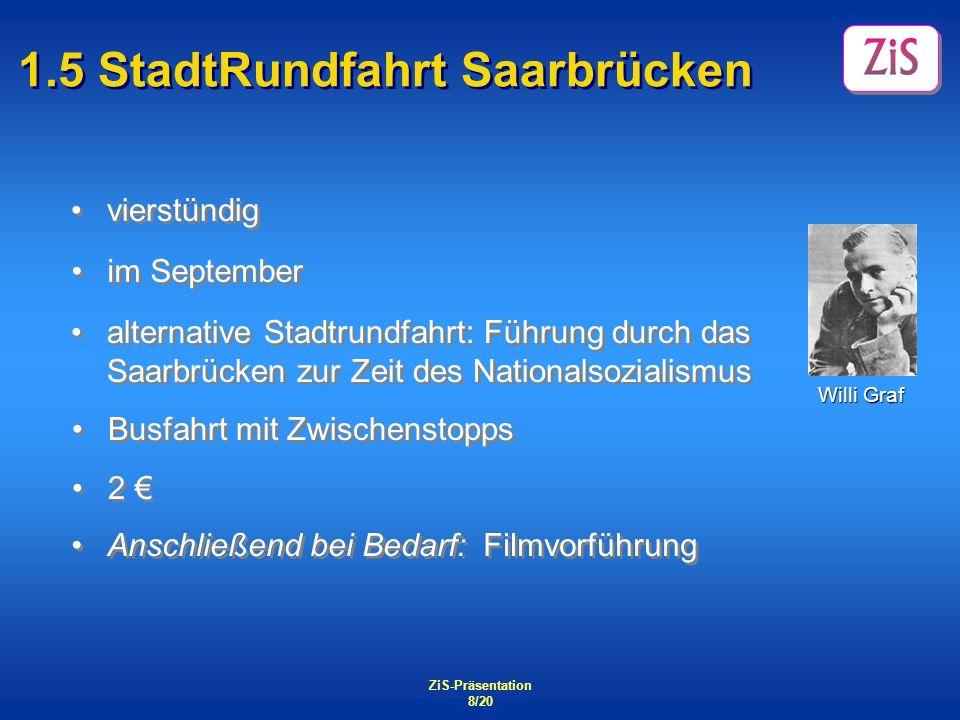 ZiS-Präsentation 8/20 1.5 StadtRundfahrt Saarbrücken vierstündig Anschließend bei Bedarf: Filmvorführung 2 2 Busfahrt mit Zwischenstopps Willi Graf al