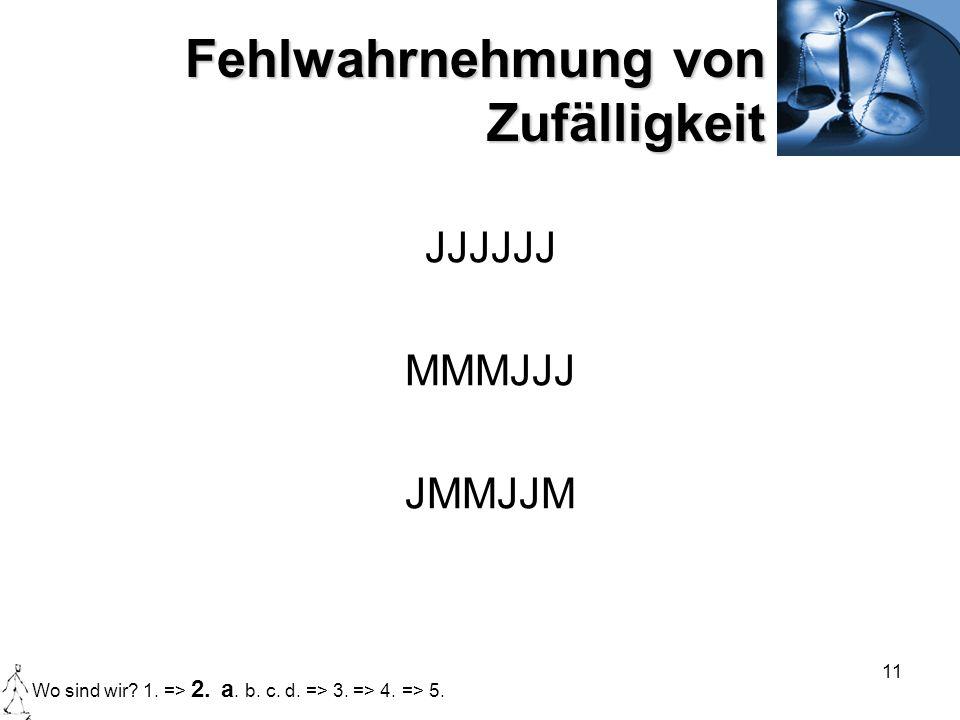 11 Fehlwahrnehmung von Zufälligkeit JJJJJJ MMMJJJ JMMJJM Wo sind wir? 1. => 2. a. b. c. d. => 3. => 4. => 5.