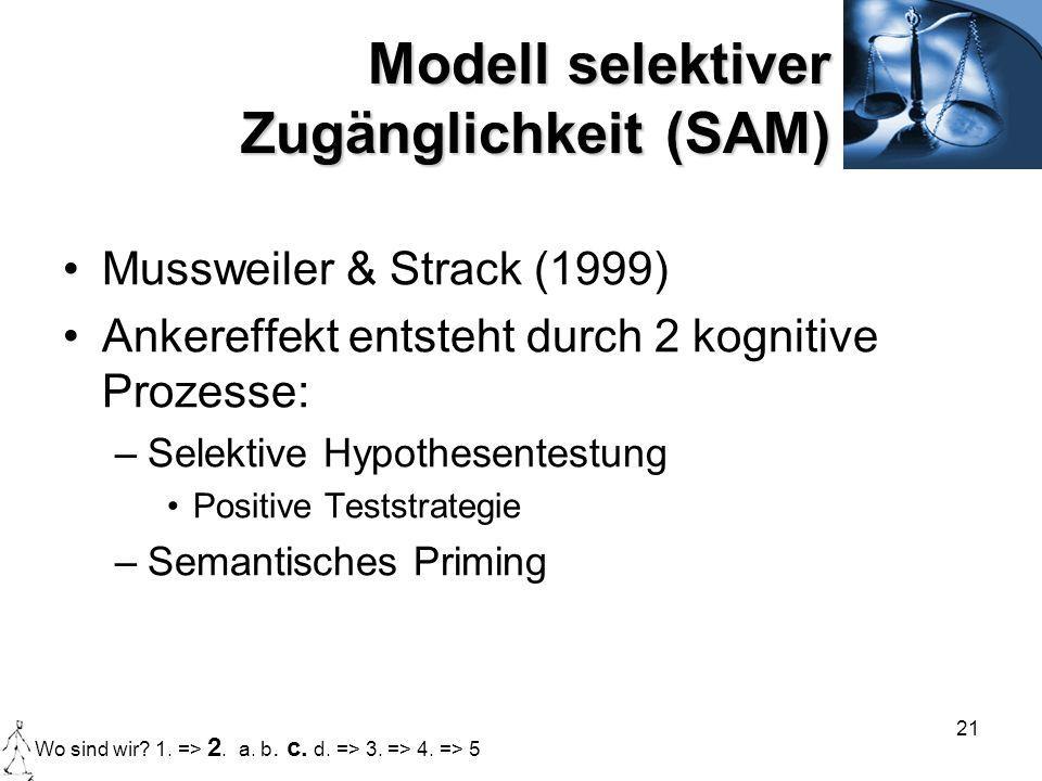 21 Modell selektiver Zugänglichkeit (SAM) Mussweiler & Strack (1999) Ankereffekt entsteht durch 2 kognitive Prozesse: –Selektive Hypothesentestung Pos