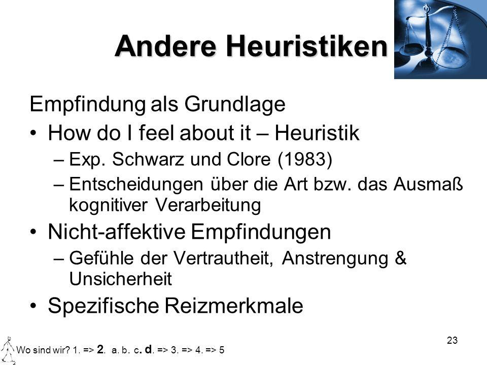 23 Andere Heuristiken Empfindung als Grundlage How do I feel about it – Heuristik –Exp. Schwarz und Clore (1983) –Entscheidungen über die Art bzw. das