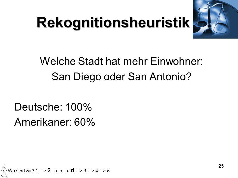 25 Rekognitionsheuristik Welche Stadt hat mehr Einwohner: San Diego oder San Antonio? Deutsche: 100% Amerikaner: 60% Wo sind wir? 1. => 2. a. b. c. d.