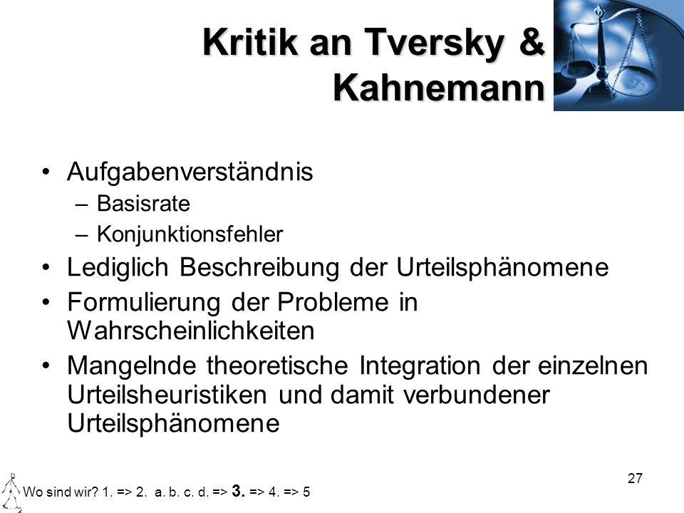 27 Kritik an Tversky & Kahnemann Aufgabenverständnis –Basisrate –Konjunktionsfehler Lediglich Beschreibung der Urteilsphänomene Formulierung der Probl