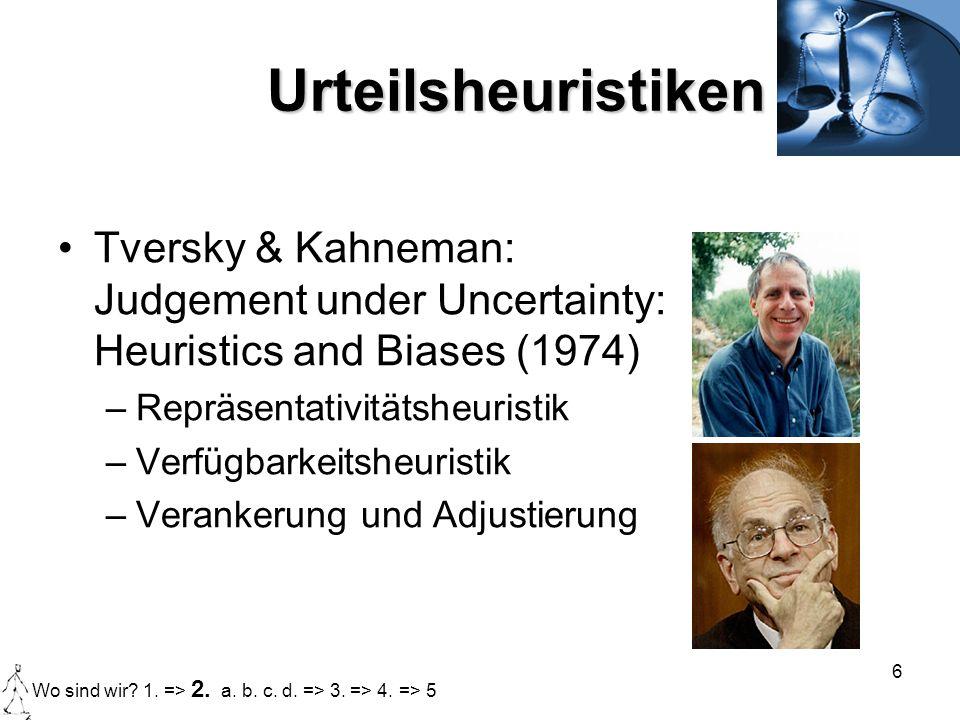 6 Urteilsheuristiken Tversky & Kahneman: Judgement under Uncertainty: Heuristics and Biases (1974) –Repräsentativitätsheuristik –Verfügbarkeitsheurist