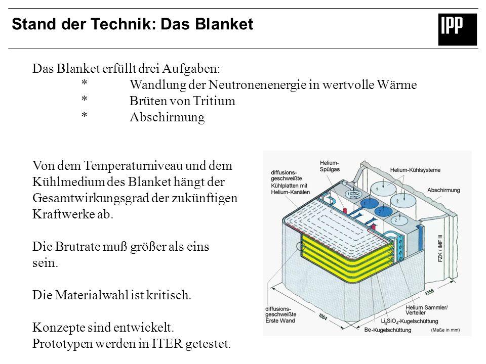 Stand der Technik: Das Blanket Das Blanket erfüllt drei Aufgaben: *Wandlung der Neutronenenergie in wertvolle Wärme *Brüten von Tritium *Abschirmung V