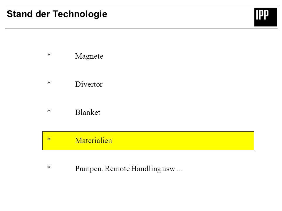 Stand der Technologie *Magnete *Divertor *Blanket *Materialien *Pumpen, Remote Handling usw...