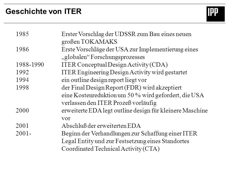 Geschichte von ITER 1985 Erster Vorschlag der UDSSR zum Bau eines neuen großen TOKAMAKS 1986 Erste Vorschläge der USA zur Implementierung eines global