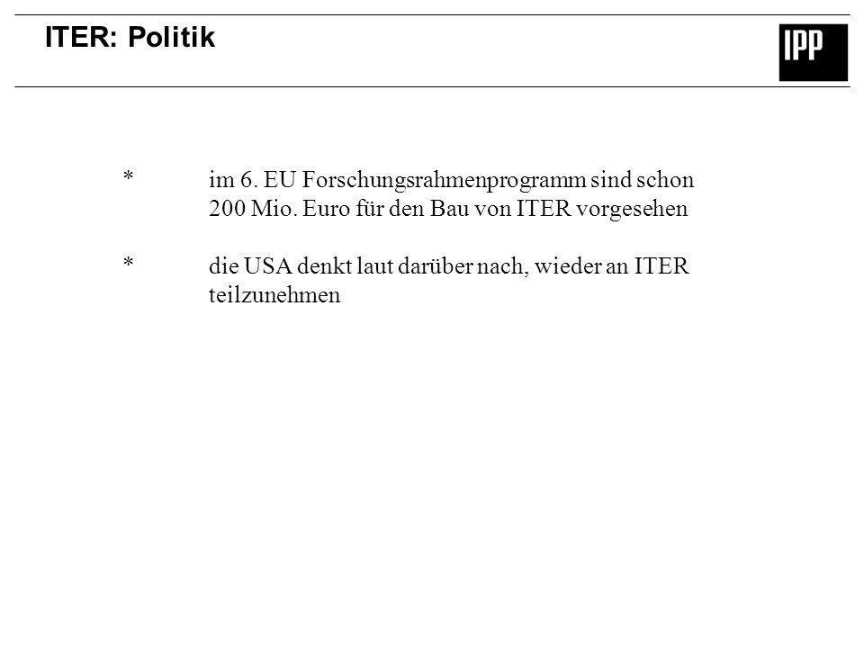 ITER: Politik *im 6. EU Forschungsrahmenprogramm sind schon 200 Mio. Euro für den Bau von ITER vorgesehen *die USA denkt laut darüber nach, wieder an