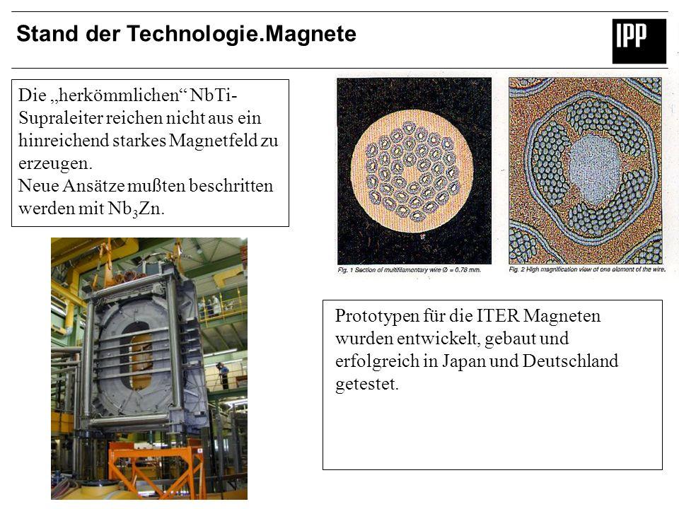 Stand der Technologie.Magnete Die herkömmlichen NbTi- Supraleiter reichen nicht aus ein hinreichend starkes Magnetfeld zu erzeugen. Neue Ansätze mußte