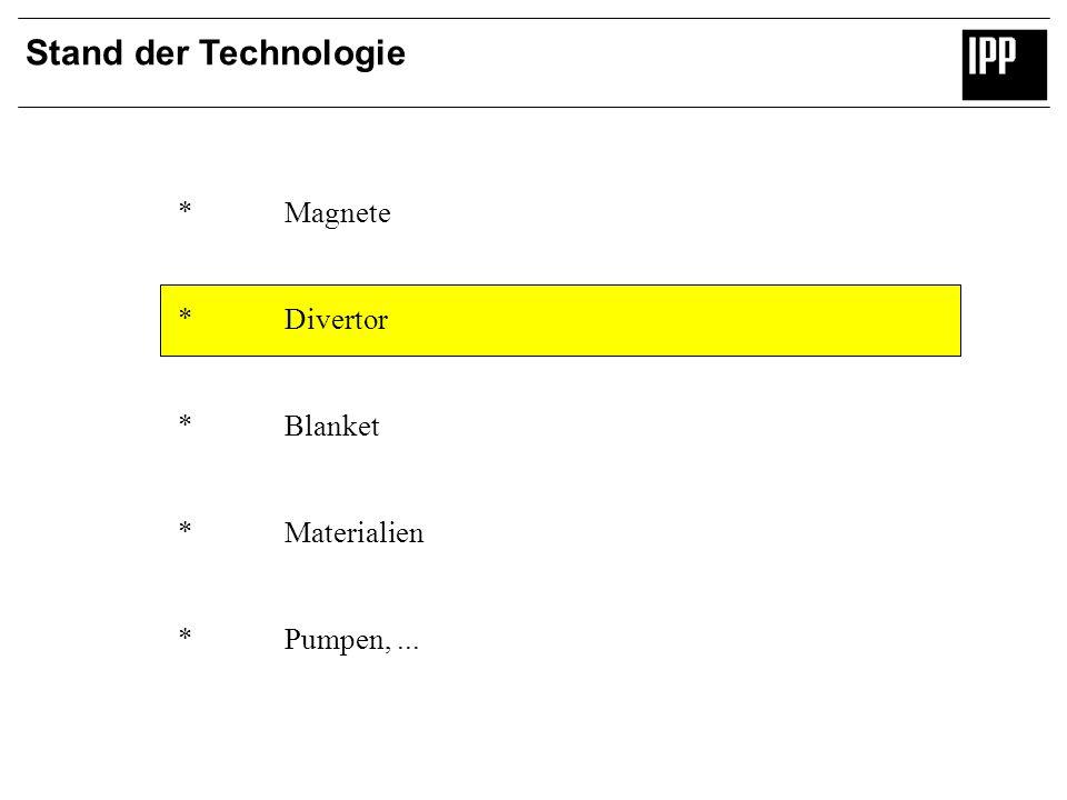 Stand der Technologie *Magnete *Divertor *Blanket *Materialien *Pumpen,...