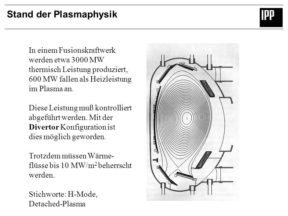 Stand der Plasmaphysik In einem Fusionskraftwerk werden etwa 3000 MW thermisch Leistung produziert, 600 MW fallen als Heizleistung im Plasma an. Diese