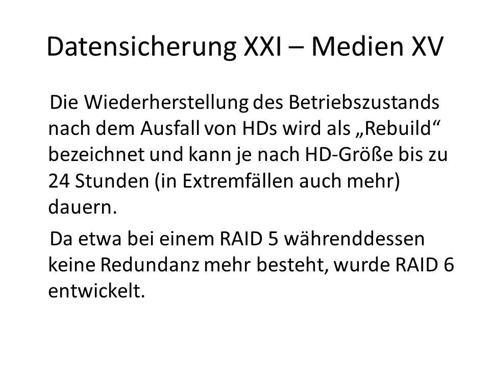 Datensicherung XXI – Medien XV Die Wiederherstellung des Betriebszustands nach dem Ausfall von HDs wird als Rebuild bezeichnet und kann je nach HD-Grö
