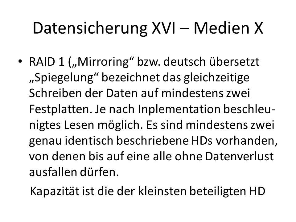 Datensicherung XVII – Medien XI RAID 5 (Striping with distributed Parity, Streifen mit verteilter Parität), mindestens drei HDs, zu den Daten-Stripes wird auf jeder beteiligten HD noch Paritätsinformation abgelegt, so kann bei Ausfall einer )nicht mehrere!) Platte daraus deren Inhalt errechnet werden Kapazität ist kleinste HD * (Anzahl HDs -1)