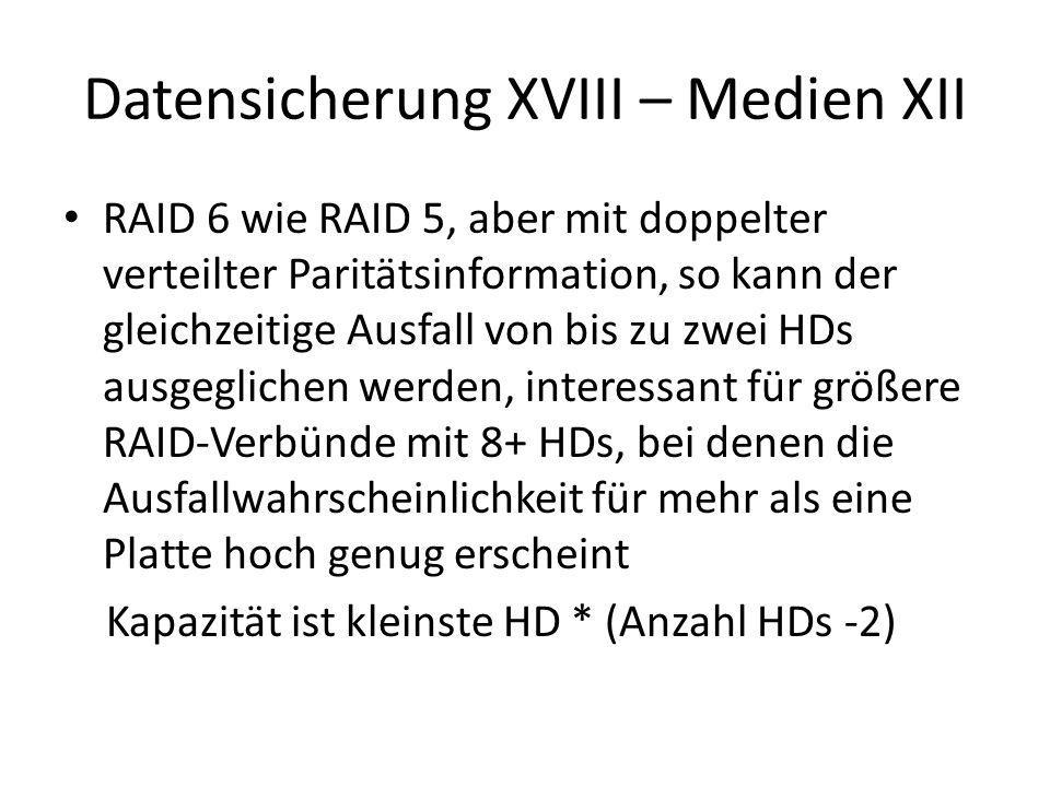Datensicherung XVIII – Medien XII RAID 6 wie RAID 5, aber mit doppelter verteilter Paritätsinformation, so kann der gleichzeitige Ausfall von bis zu z