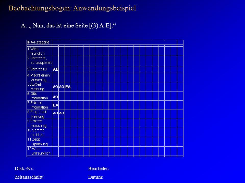 AO Disk.-Nr.:Beurteiler: Zeitausschnitt:Datum: Beobachtungsbogen: Anwendungsbeispiel AO EA A: Nun, das ist eine Seite [(3) A-E].