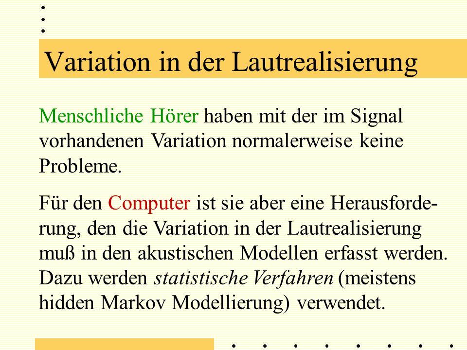 Variation in der Lautrealisierung Menschliche Hörer haben mit der im Signal vorhandenen Variation normalerweise keine Probleme.