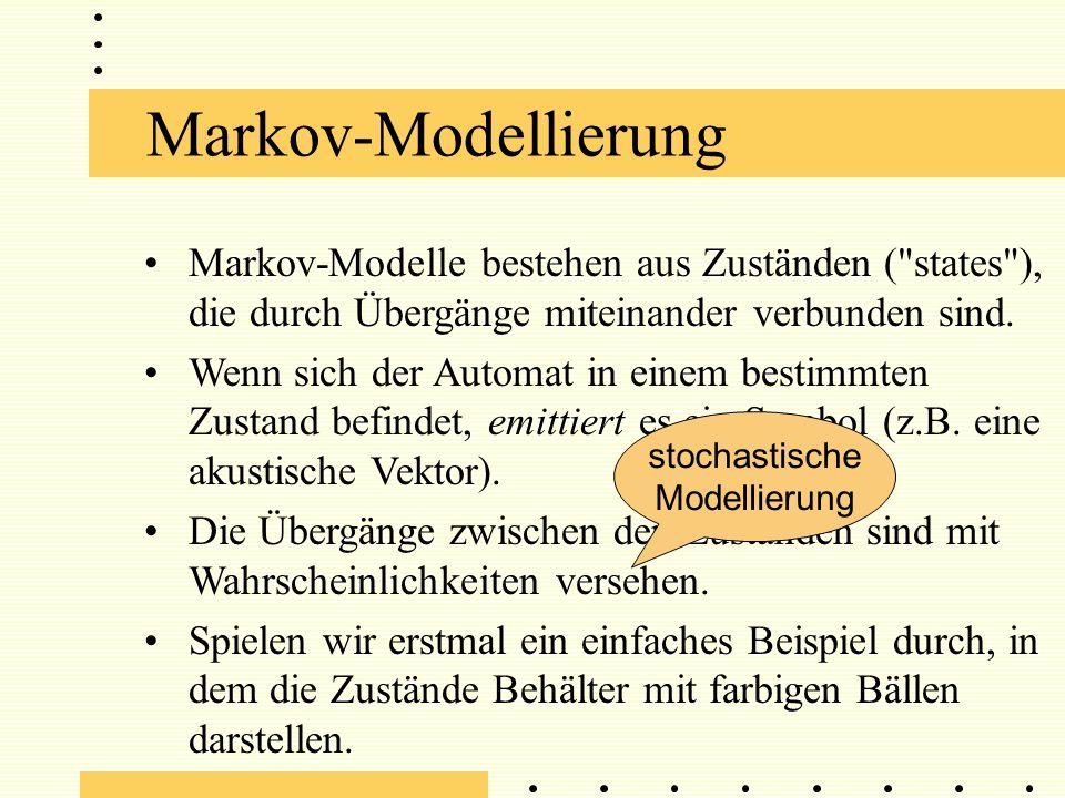 Markov-Modellierung Markov-Modelle bestehen aus Zuständen ( states ), die durch Übergänge miteinander verbunden sind.