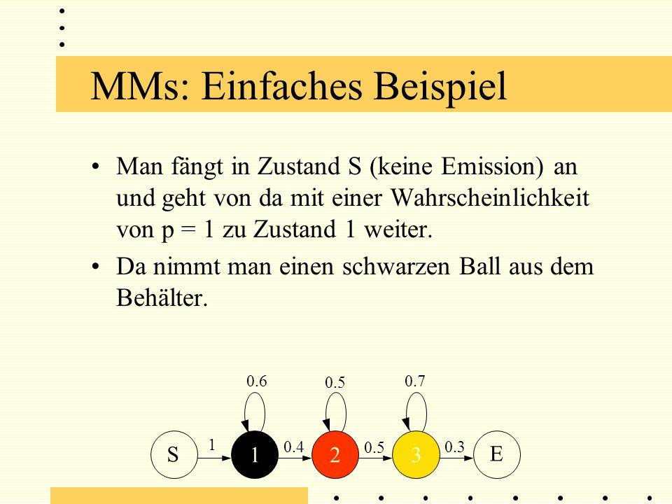MMs: Einfaches Beispiel Man fängt in Zustand S (keine Emission) an und geht von da mit einer Wahrscheinlichkeit von p = 1 zu Zustand 1 weiter.