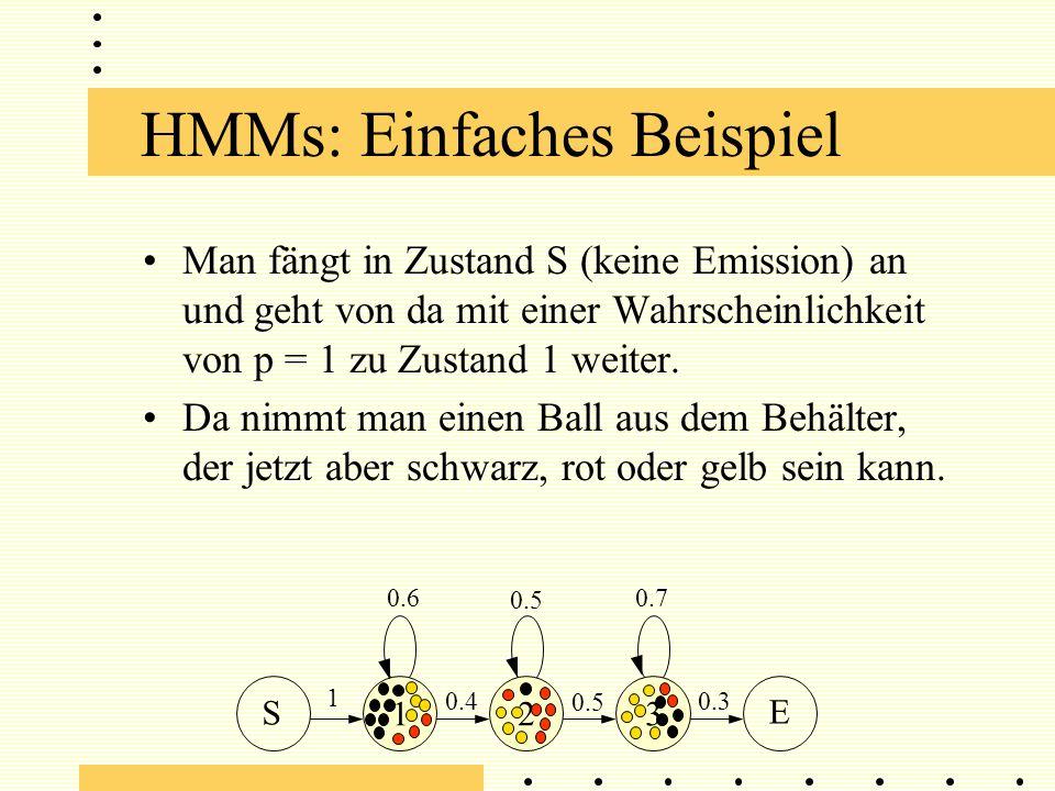 HMMs: Einfaches Beispiel Man fängt in Zustand S (keine Emission) an und geht von da mit einer Wahrscheinlichkeit von p = 1 zu Zustand 1 weiter.