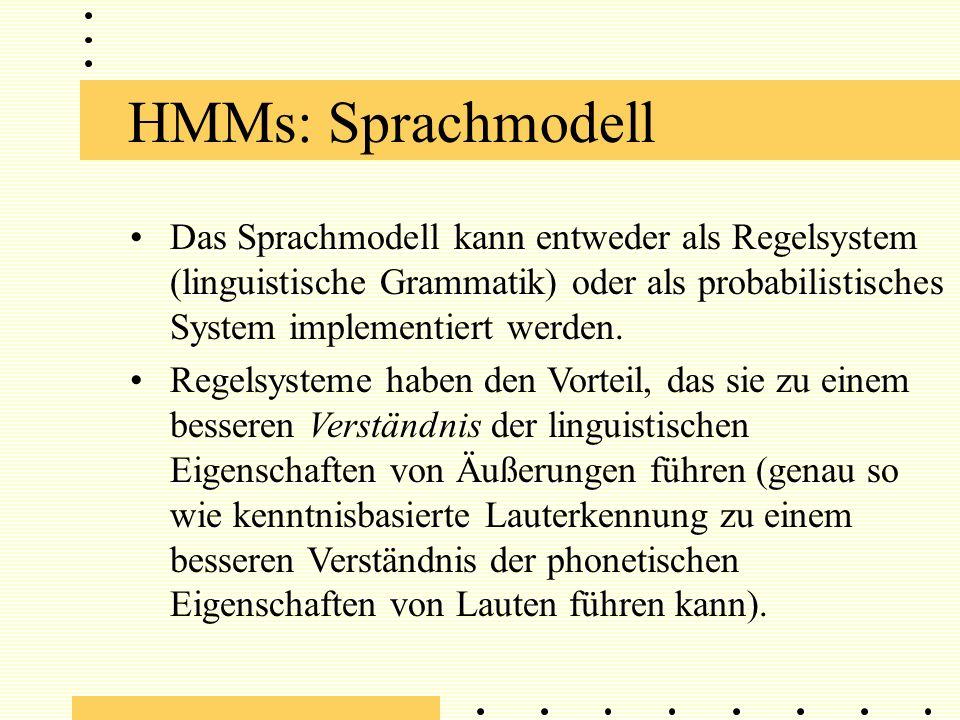 HMMs: Sprachmodell Das Sprachmodell kann entweder als Regelsystem (linguistische Grammatik) oder als probabilistisches System implementiert werden.