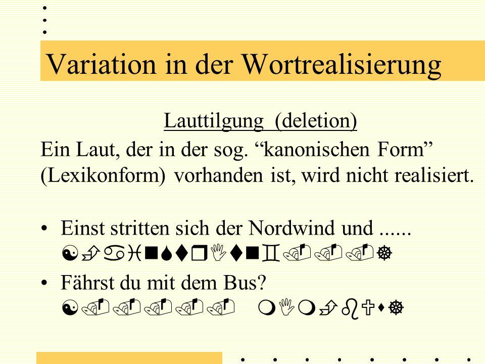 Variation in der Lautrealisierung Artikulatorische Übergänge Beispiel: An den Grenzen des Vokals hängt die Realisierung stark von der Artikulation der benachbarten Laute ab.