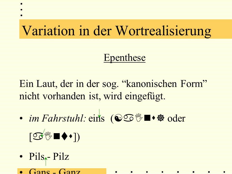 Epenthese Ein Laut, der in der sog.kanonischen Form nicht vorhanden ist, wird eingefügt.
