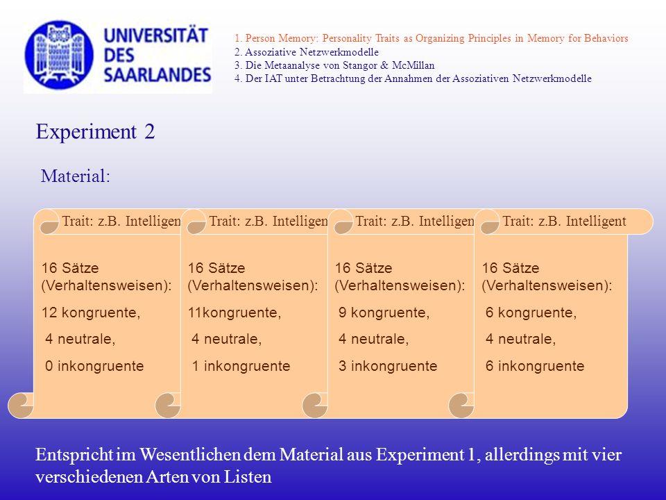Experiment 2 Material: 16 Sätze (Verhaltensweisen): 12 kongruente, 4 neutrale, 0 inkongruente Trait: z.B. Intelligent 16 Sätze (Verhaltensweisen): 11k