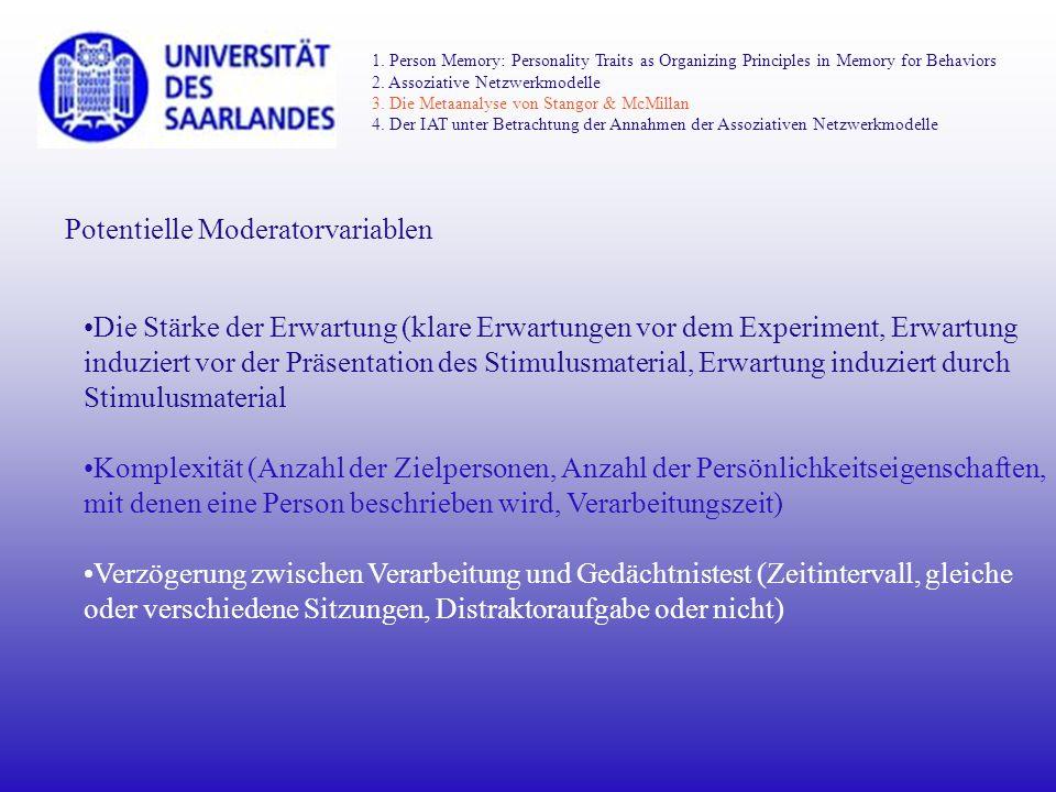 Potentielle Moderatorvariablen Die Stärke der Erwartung (klare Erwartungen vor dem Experiment, Erwartung induziert vor der Präsentation des Stimulusma