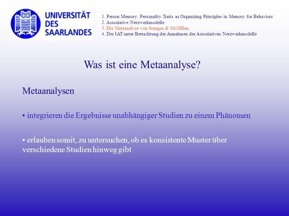 Was ist eine Metaanalyse? Metaanalysen integrieren die Ergebnisse unabhängiger Studien zu einem Phänomen erlauben somit, zu untersuchen, ob es konsist