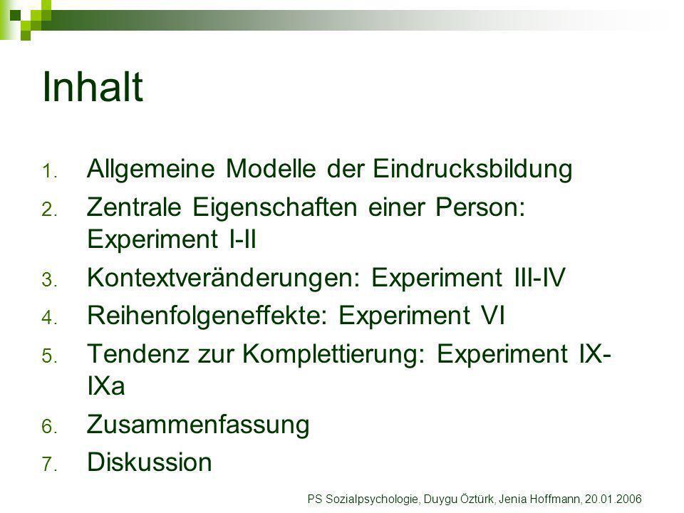 1. Allgemeine Modelle der Eindrucksbildung