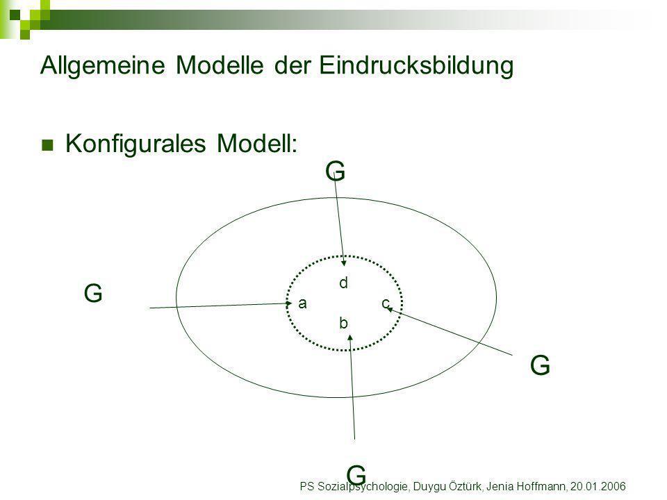 PS Sozialpsychologie, Duygu Öztürk, Jenia Hoffmann, 20.01.2006 Grundannahme Aschs Aschs Grundannahme : Der Gesamteindruck ist nicht lediglich die Summe der Einzelinformationen.