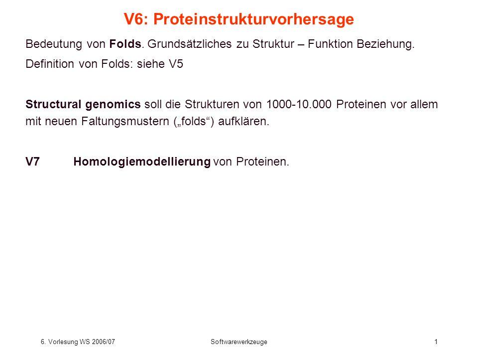 6. Vorlesung WS 2006/07Softwarewerkzeuge1 V6: Proteinstrukturvorhersage Bedeutung von Folds. Grundsätzliches zu Struktur – Funktion Beziehung. Definit