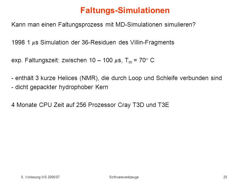 6. Vorlesung WS 2006/07Softwarewerkzeuge25 Faltungs-Simulationen Kann man einen Faltungsprozess mit MD-Simulationen simulieren? 1998 1 s Simulation de