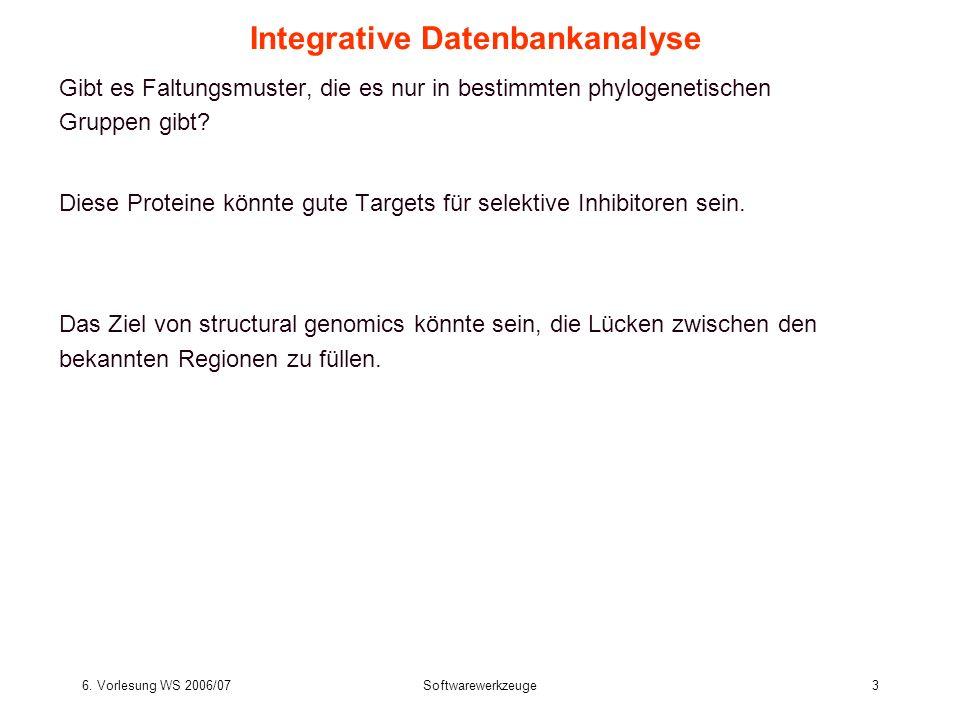 6. Vorlesung WS 2006/07Softwarewerkzeuge3 Integrative Datenbankanalyse Gibt es Faltungsmuster, die es nur in bestimmten phylogenetischen Gruppen gibt?