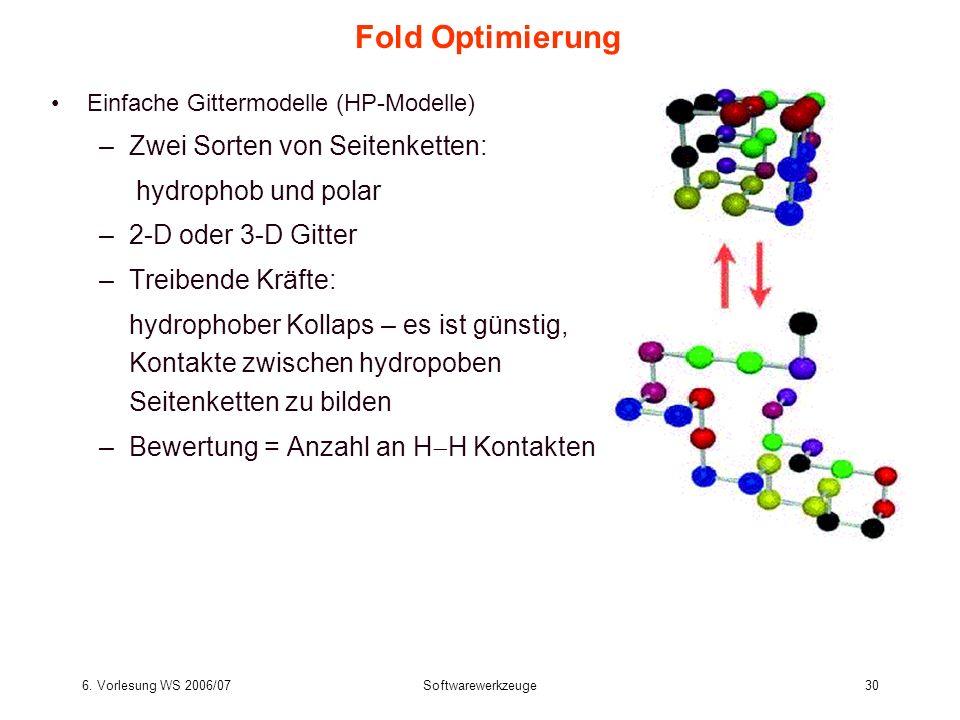 6. Vorlesung WS 2006/07Softwarewerkzeuge30 Fold Optimierung Einfache Gittermodelle (HP-Modelle) –Zwei Sorten von Seitenketten: hydrophob und polar –2-