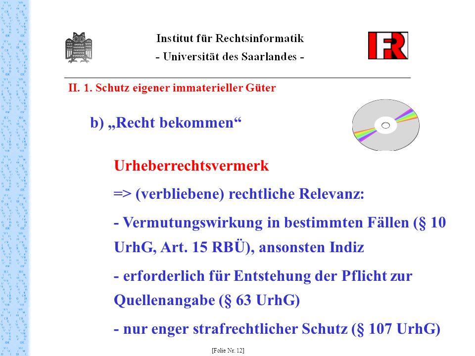 II. 1. Schutz eigener immaterieller Güter [Folie Nr. 12] b) Recht bekommen Urheberrechtsvermerk => (verbliebene) rechtliche Relevanz: - Vermutungswirk
