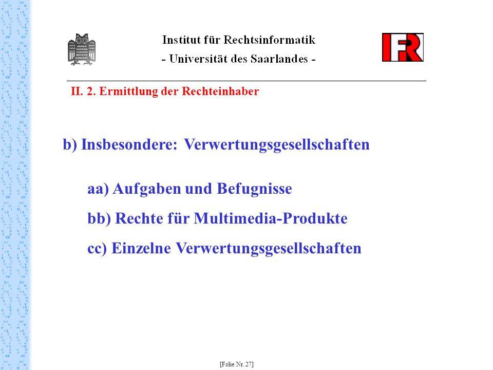 II. 2. Ermittlung der Rechteinhaber [Folie Nr. 27] b) Insbesondere: Verwertungsgesellschaften aa) Aufgaben und Befugnisse bb) Rechte für Multimedia-Pr