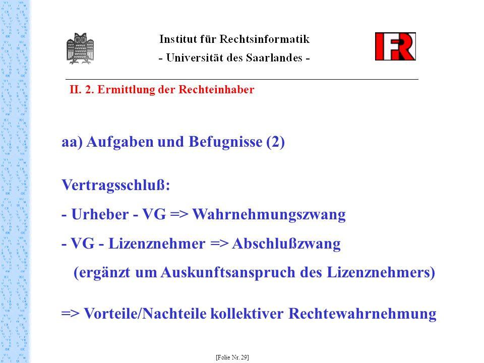 II. 2. Ermittlung der Rechteinhaber [Folie Nr. 29] aa) Aufgaben und Befugnisse (2) Vertragsschluß: - Urheber - VG => Wahrnehmungszwang - VG - Lizenzne