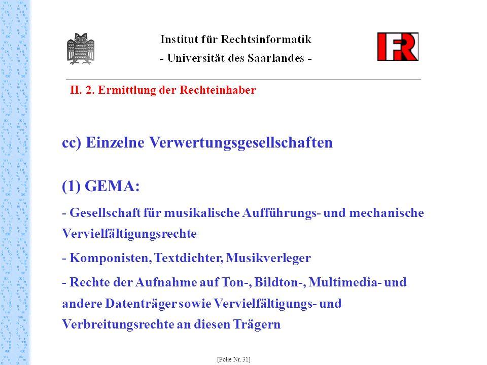 II. 2. Ermittlung der Rechteinhaber [Folie Nr. 31] cc) Einzelne Verwertungsgesellschaften (1) GEMA: - Gesellschaft für musikalische Aufführungs- und m